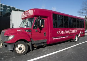 Ramapo College Roadrunner Express shuttle bus exterior shot
