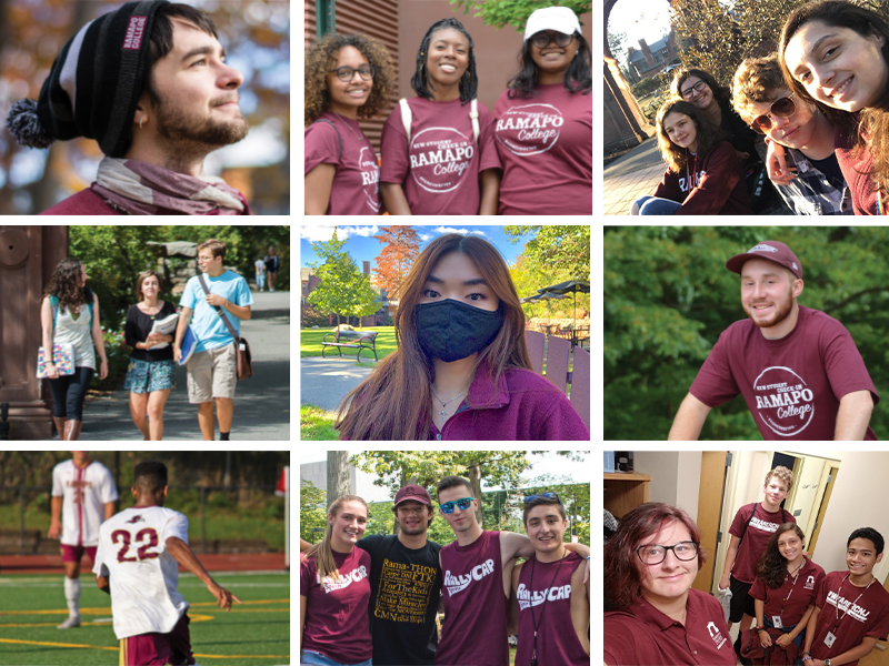 Image grid of students on campus