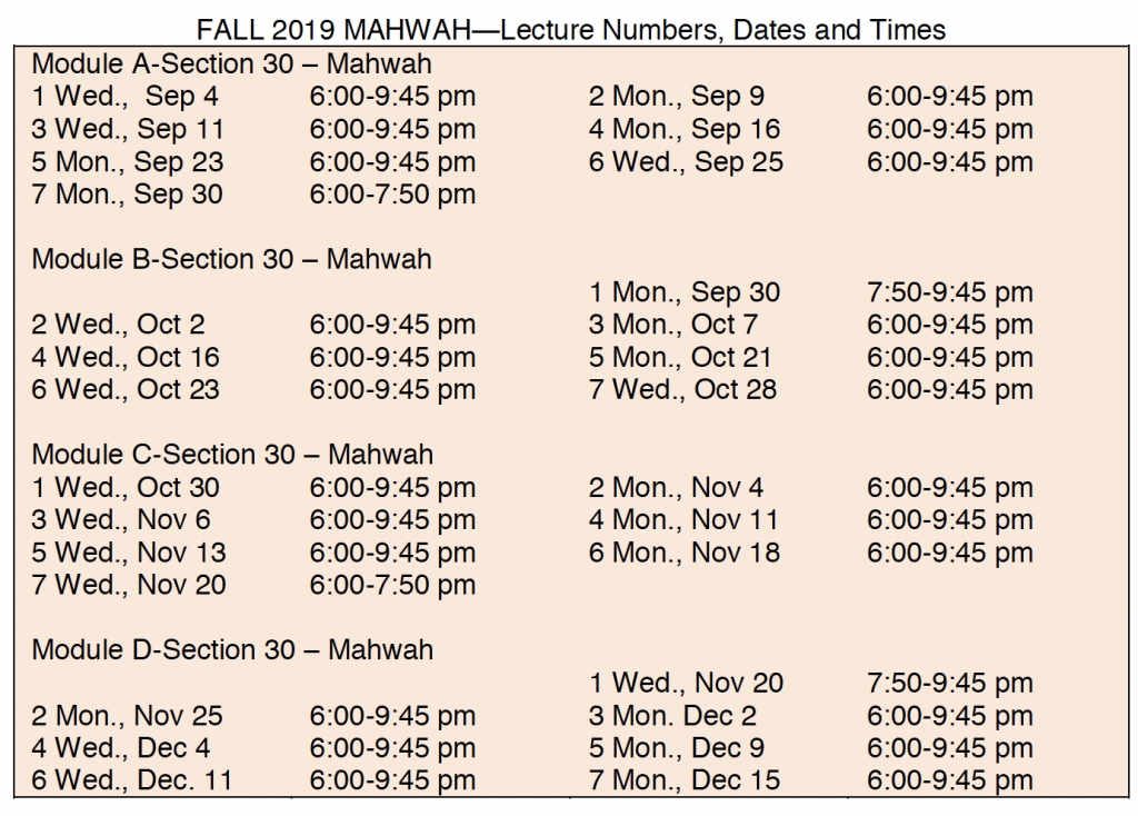 Fall Schedule in Mahwah - call for details