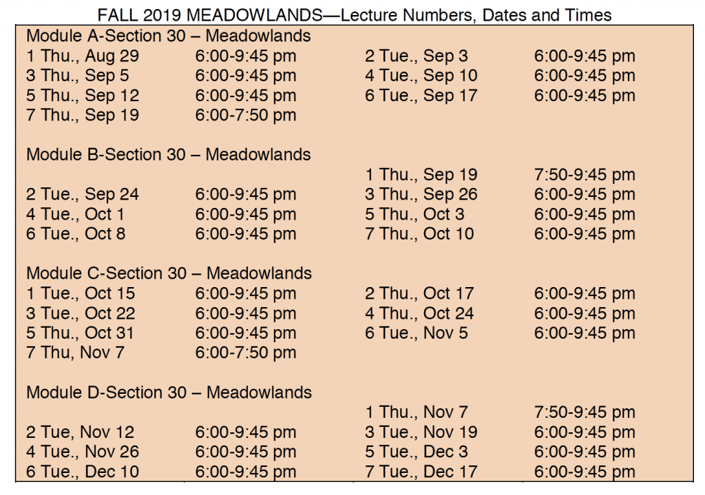 Fall Schedule in Meadowlands - call for details