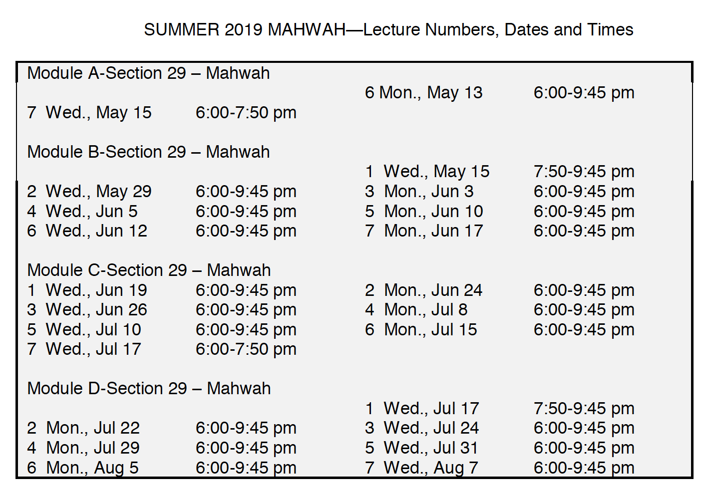 Summer Schedule in Mahwah - call for details