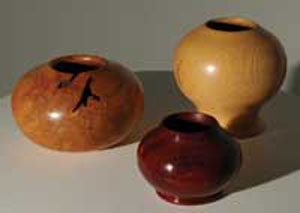 Various turned wood bowls by Phyllis McGraw
