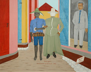Philome Obin (Haiti), Carnival Disguises, (circa 1972-1975) Masonite, 16 x 20 inches, collection of Susan and Chuck Seeman