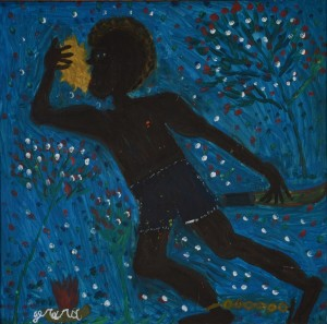 Gerard Fortune, Haiti, Slave Blowing Call To Rebellion, 1983, oil on board, Rodman Collection, Ramapo College of New Jersey