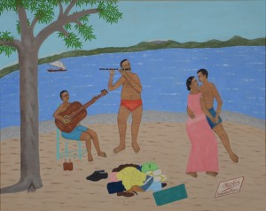 Philomé Obin, Haiti, On The Beach, n.d., oil on board, Rodman Collection, Ramapo College of New Jersey, gift of Janet Feldman