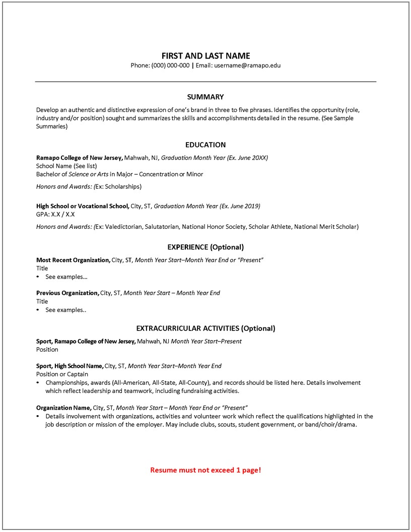 first year resume