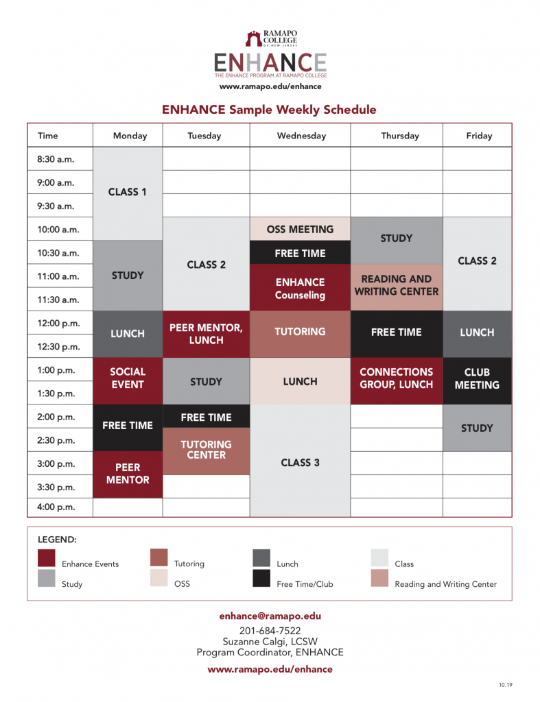 ENHANCE Sample Weekly Schedule