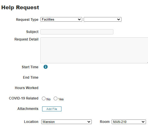 """For Request Type, select """"Facilities"""" from the drop-down menu."""
