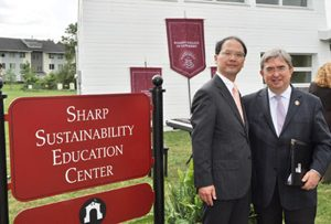 (L to R) Toshiyuki Osawa, chairman of the board and CEO of Sharp Electronics Corp. and Ramapo College President Peter P. Mercer.
