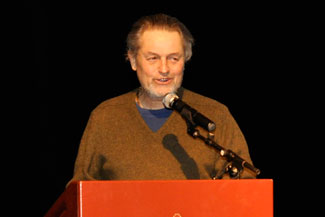 Oscar-winning director Jonathan Demme, whose private collection of renowned Haitian artists is featured in the Kresge Gallery through December 12, spoke at a Haiti Scholarship Fund event held on campus.