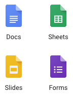 Icons for Google Docs, Sheets, Slides, Forms