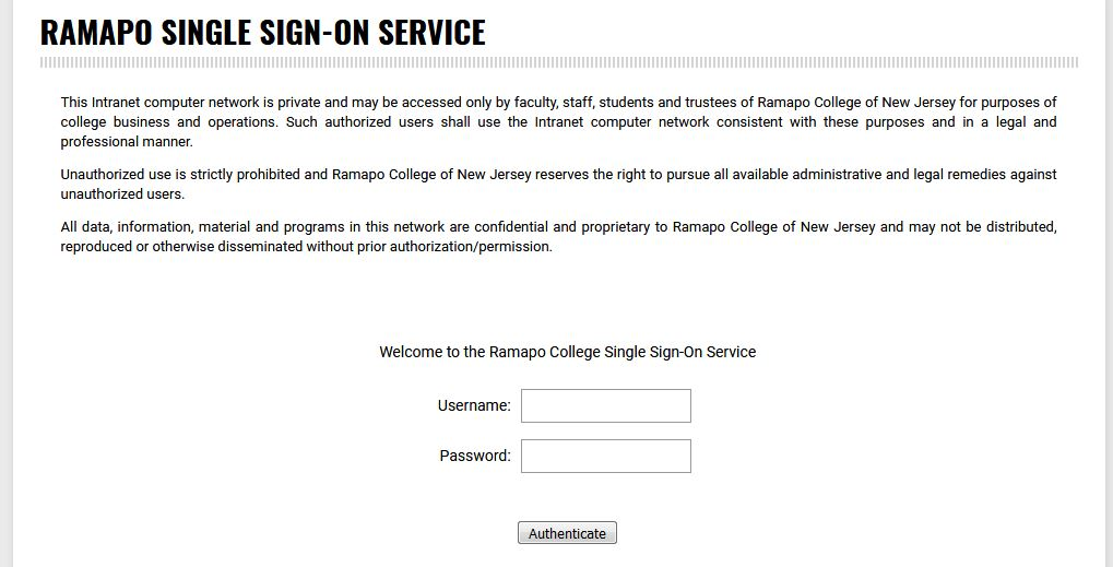 Ramapo Secure Login Page