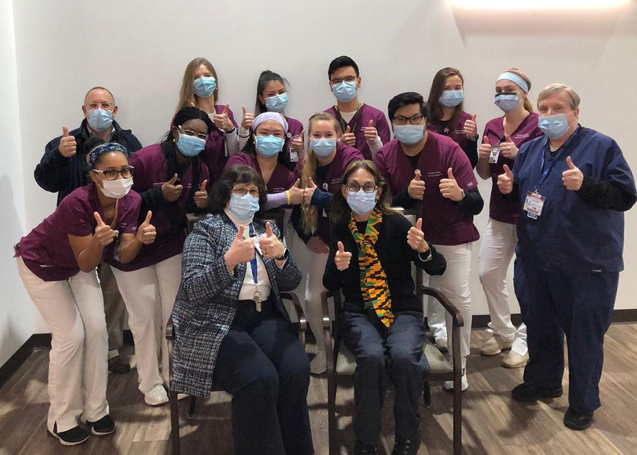 New Bridge Medical Center welcomed Ramapo College nursing students with a group thumbs-up