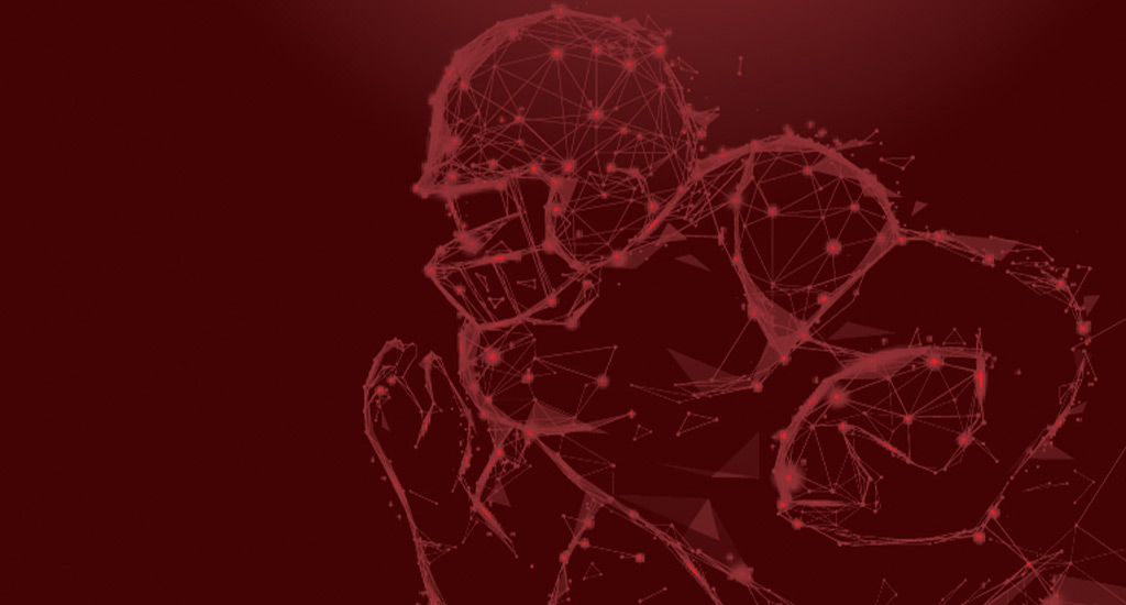 Football Player outline made of data