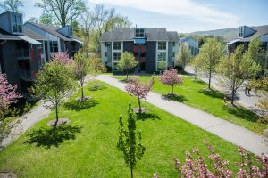 The Village Residences during a sunny spring day. These are little apartment buildings as residence options for Ramapo College students.