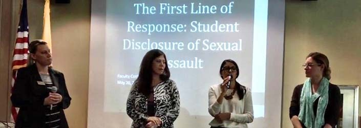 Ramapo administrators and Gina Giordano, the Outreach Coordinator at healingSPACE, providing Title IX training at the Faculty conference in May 2015