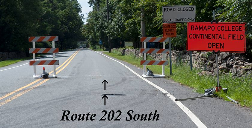 Road Closure Sign on Route 202 South
