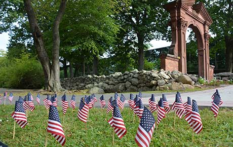 Ramapo College representatives of the Student Government Association placed more than 2,000 American flags in the campus Grove to remember the lives lost in the September 11, 2001 attacks.